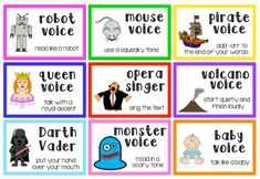 These cards can be printed and laminated for rug time, circle time, independent reading, etc. Put them in a bag and let 1 student choose from the bag at a time. They can pull out a card and read as the card says. As you can see on the thumbnail, some of the cards are: read like a pirate, baby, zoo animal, volcano, granny, astronaut, underwater, mad man, and many more!!