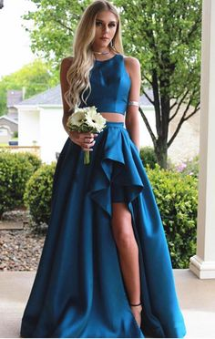 Two Pieces A-line Blue Sleeveless Slit Long Prom Dress Prom Dress Blue, Prom Dress Two Piece, Prom Dress Long, Prom Dresses, Sleeveless Prom Dress Prom Dresses Long Pageant Dresses For Teens, Sexy Evening Dress, Women's Evening Dresses, A Line Prom Dresses, Homecoming Dresses, Dress Prom, Quinceanera Dresses, Party Dresses, Dress Long