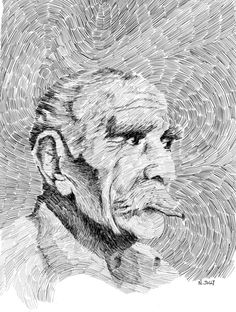 De tout tes travaux, c'est bien celui qui me parle le plus. Il faut dire qu'un beau portrait me touche davantage que les plus beaux paysages... Fingerprint - Pâques.  Black ink drawing. By Nicolas Jolly. #art #drawing #ink