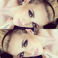 blonde hair, perfect eyebrows and brown eye makeup