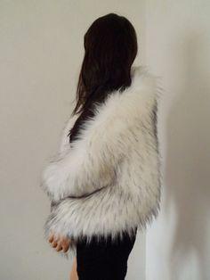 white fur wrap fake fur stole faux fur shawl by thepurplegenie