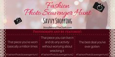 Fashion Photo Scavenger Hunt – First Round: Savvy Shopping –
