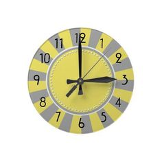 Yellow and Gray Starburst Stripes Clock by hhtrendyhome