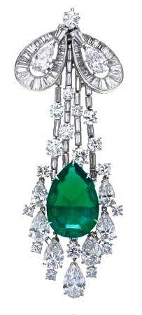 Harry Winston, Colombian Emerald & Diamond Brooch