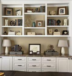 "Benjamin Moore Paint Colors. ""Benjamin Moore 244 Strathmore Manor"". #BenjaminMoore #244 #StrathmoreManor Bookshelves In Living Room, Cool Bookshelves, Decorating Bookshelves, Built In Bookcase, Bookcases, Rustic Bookshelf, Book Shelves, Bookshelf Styling, Floating Bookshelves"
