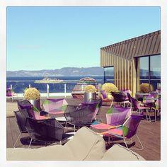 Instagram photo by @clariontrondheim (Clarion Hotel Trondheim) | Sommerstemning på takterassen #interior #skybar #summer | Nordic Choice Outdoor Furniture Sets, Outdoor Decor, Management, Trondheim, Sky, Hotels, Instagram, Home Decor, Voyage