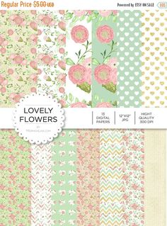 """80% off Entire Shop Digital Paper - Lovely Flowers - Instant Download - Digital Artwork by mormonlinkshop  1.00 USD  Digital paper is a bit of a misnomer as no paper is involved! You can use these JPEG versions of 12""""x12"""" papers to create backgrounds photo mattes die-cuts etc. just as you would have used a traditional piece of paper. Of course you're able to use these over and over again no longer will you worry about making the """"wrong cut"""" and wasting your supply. Great for all ages classes…"""