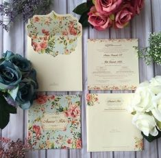 vintage style pastel wedding invitationin the treehouse, invitation samples