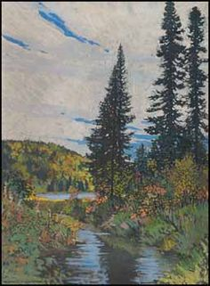 Frank Hans (Franz) Johnston ARCA CSPWC OSA 1888 - 1949 Canadian Spruce Sentinels, Algoma, Ontario tempera on paper board signed Francis H. Johnston and dated 1918 a Canadian Painters, Canadian Artists, Landscape Art, Landscape Paintings, David Milne, Group Of Seven Artists, Franklin Carmichael, Tom Thomson Paintings, Emily Carr
