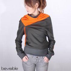 Dark Gray Asymmetrical Sweatshirt. looks cozy