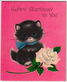 Vintage Greeting Card Kitty Black Cat Norcross Inky (O355)