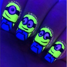 Glow in the dark minion nails!!!! <3 it!