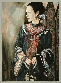 """Chinese artist Zhou Changquan (b. 1966) is a member of the China Artists Association. In 1995 he established his own gallery """"Changqing Gallery"""". The painting shows a beautiful Chinese lady from the late Qing Dynasty (1644-1911).    The portrait a Chinese lady in a lush robe from the late Qing Dynasty (1644-1911) is an elaborate work created with small painting brushes on a thin paper. Style and technique are a synthesis of old Chinese painting tradition and modern Western elements."""