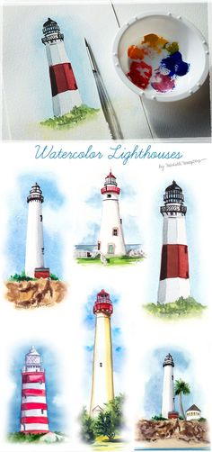 hand painted watercolor lighthouses by Michelle Mospens More