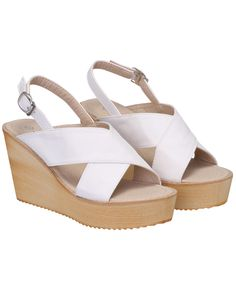 White Buckle Strap Wedges Sandals 32.67
