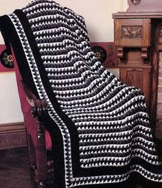 Check-Mate Afghan-Free pattern, level: experienced- Like the border. This would also look nice with a simple stripe or granny stripe pattern.