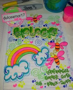 RECUERDA QUE LLEGA LA ÉPOCA ESCOLAR❤ Y CON ELLA MARCAR TUS CUADERNOS PARA INICIAR CON TODA TUS ESTU - dulceamor17 Diy And Crafts, Arts And Crafts, Page Decoration, Notebook Art, Mothers Day Crafts For Kids, School Notebooks, Decorate Notebook, Up Halloween, Border Design
