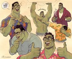 Awww Bruce Banner Hulk is rhe cutest! I miss his peachy facw though, but he's happier this way. Marvel Dc Comics, Marvel Avengers, Marvel Funny, Marvel Universe, Die Rächer, Dc Memes, Fan Art, Character Design, Comic Books