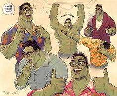 Awww Bruce Banner Hulk is rhe cutest! I miss his peachy facw though, but he's happier this way. Marvel Dc Comics, Marvel Avengers, Marvel Funny, Marvel Art, Marvel Memes, Marvel Universe, Die Rächer, Dc Memes, Hulk Memes