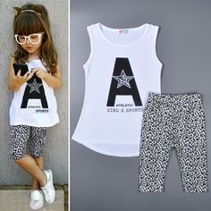 18M-6T baby girls clothes set 2015 clothing child White A t shirt+Leopard pants brand new summer toddler ropa de ninas