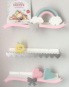 Girly shelves 😍 Order now 😍 just send DM or call us 01033778585 01033778686 Bedroom Crafts, Kids Bedroom, Nursery Room Decor, Wall Decor, Little Girl Rooms, Kid Beds, Kids Decor, Kids Furniture, Decoration