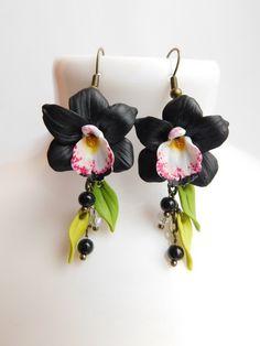 Black flower earrings Orchid jewelry Black earrings Summer earrings Girlfriend gift Floral earrings Black jewelry Handmade earrings