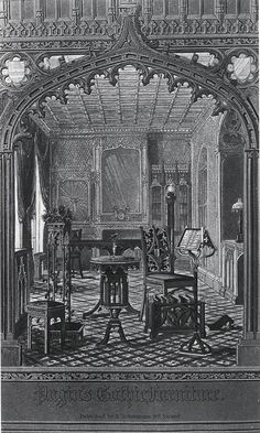 "Pugin, Gothic furniture    An illustration for the front page of Pugin's ""Gothic Furniture"", a set of illustrations on the Gothic revival applied to household items."