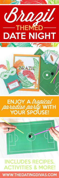 THIS WOULD BE PERFECT FOR DATE NIGHT ESPECIALLY WITH THE OLYMPICS RIGHT NOW!! Fun printables for a Brazilian themed date night including: an invitation, recipe cards, activities, and MORE! This site also has 11 other country-themed dates so you can pick a different one each month and travel the world together one date night at a time. Such a fun, romantic idea! From www.TheDatingDivas.com