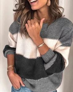 Plus Size Long Sleeve Casual Stripes Sweater Thick Sweaters, Casual Sweaters, Pullover Sweaters, Sweaters For Women, Striped Sweaters, Women's Sweaters, Winter Sweaters, Oversized Sweaters, Casual Shirts