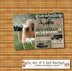Army birthday party invitation kids camouflage by myooakboutique
