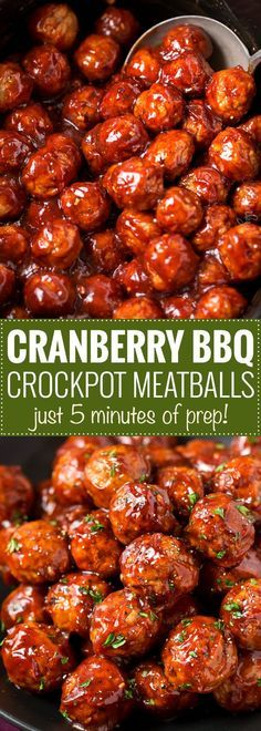 Cranberry BBQ Crockpot Meatballs   The perfect appetizer for a party or game day... with just 3 ingredients and just 5 minutes of prep! Pop it all in your slow cooker and enjoy!   https://www.thechunkychef.com   #appetizer #meatballs #party #easyrecipe #crockpot #slowcooker