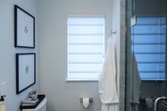 Bathroom: Hunter Douglas - Roller Blind Hunter Douglas, Custom Window Treatments, Roller Blinds, Blinds For Windows, Window Coverings, Shutters, Shades, Mirror, Furniture