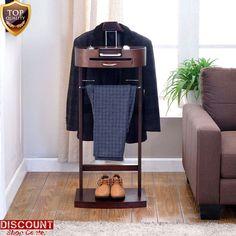 Valet Stand Suit Rack Clothes Hanger Wardrobe Organizer Bedroom Men Shoe Trouser #ValetStandSuitRack