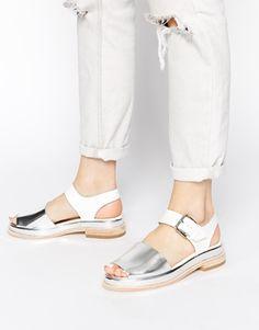 Clarks Originals Madlen White & Silver Flat Sandals