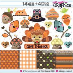 80%OFF - Thanksgiving Clipart, Thanksgiving Graphic, COMMERCIAL USE, Thanksgiving Party, Thanksgiving Celebration, Thanksgiving, Kawaii