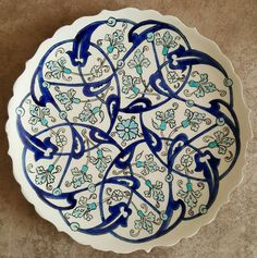 """The word """"ceramics"""" comes form the Greek word """"keramikos"""", which means pottery. The heritage of the Greek word means potter's clay and ceramic art directly … Turkish Tiles, Turkish Art, Arabesque, Tile Patterns, Pattern Art, Ceramic Painting, Ceramic Art, Persian Pattern, Islamic Art Pattern"""