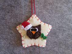 Felt Christmas Ornament - Owl Ornament - Handmade Ornaments - Ornamento in feltro con Gufo di Natale - Stella in feltro con gufetto - Ornamento di Natale fatto a mano - Decori per albero di Natale di TinyFeltHeart su Etsy