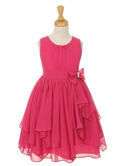 Fushia Chiffon Girl Dress with Rhinestone