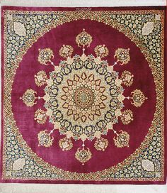 qum Silk Persian Rug | Exclusive collection of rugs and tableau rugs - Treasure Gallery You pay: $20,000.00 Retail Price: $40,000.00 You Save: 50% ($20,000.00) Item#: CS-Q30 Category: Medium(6x9-8x11) Persian Rugs Design:  Size: 200 x 200 (cm)      6' 6 x 6' 6 (ft) Origin: Persian, Qum (Qom) Foundation: Silk Material: Silk Weave: 100% Hand Woven Age: Brand New KPSI: 1000