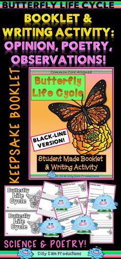KEEPSAKE BOOKLET! Full of *Student Observations *POETRY *Opinion Writing! FUN CULMINATING PROJECT about the BUTTERFLY LIFE CYCLE! BLACK-LINE VERSION! $