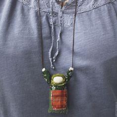 Купить Украшение в народном стиле - комбинированный, народная кукла, украшение, подвеска, сарафан, русский стиль