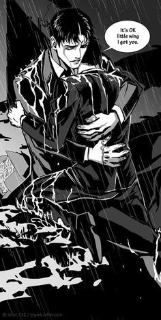 Jason comforting a resurrected Damian <<< Isn't Little Wing June nickname that dick have to Jason?