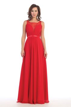 Long Summer Bridesmaids Pleated Chiffon Cheap Formal Dress