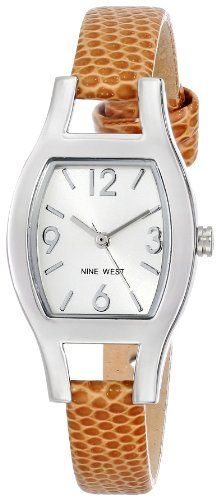 Nine West Women's NW/1599SVBN Cushion Shaped Silver-Tone Case Brown Lizard-Grain Strap Watch