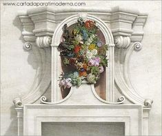 Decoration, Art Decor, Home Decor, Garden Painting, Rococo, Illustrations, Masquerade, Wall Murals, Floral Wreath