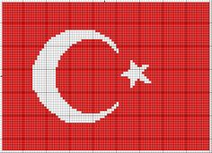 Our glorious Turkish flag cross stitch-- All the flags of the nations are glorious and there is only one thing to do ; TO RESPECT, really and heartily respect . We, Turkish people do this as our great Leader ATATÜRK said. Cross Stitch Alphabet, Cross Stitch Embroidery, Cross Stitch Designs, Cross Stitch Patterns, Perler Bead Art, Peyote Patterns, Blackwork, Pixel Art, Stencil