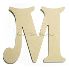 "Unfinished Wooden Uppercase Letter ""M"" - Victorian Font"