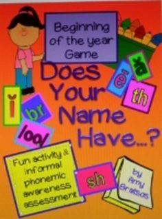 Beginning of the Year Phonemic Awareness & Phonics Name Game