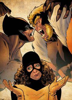 Wolverine, Sabretooth and Kitty Pryde By Leonard Kirk Marvel Comics Art, Marvel Comic Books, Fun Comics, Comic Books Art, Book Art, X Men, Lady Deathstrike, Super Heroine
