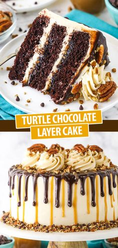 Turtle Chocolate Layer Cake with Caramel Frosting & Chocolate Ganache Chocolate Drip Cake, Chocolate Turtles, Triple Chocolate Layer Cake Recipe, Chocolate Cake With Caramel, Moist Chocolate Cakes, Caramel Drip Cake, Layer Cake Recipes, Dessert Recipes, Moist Cake Recipes